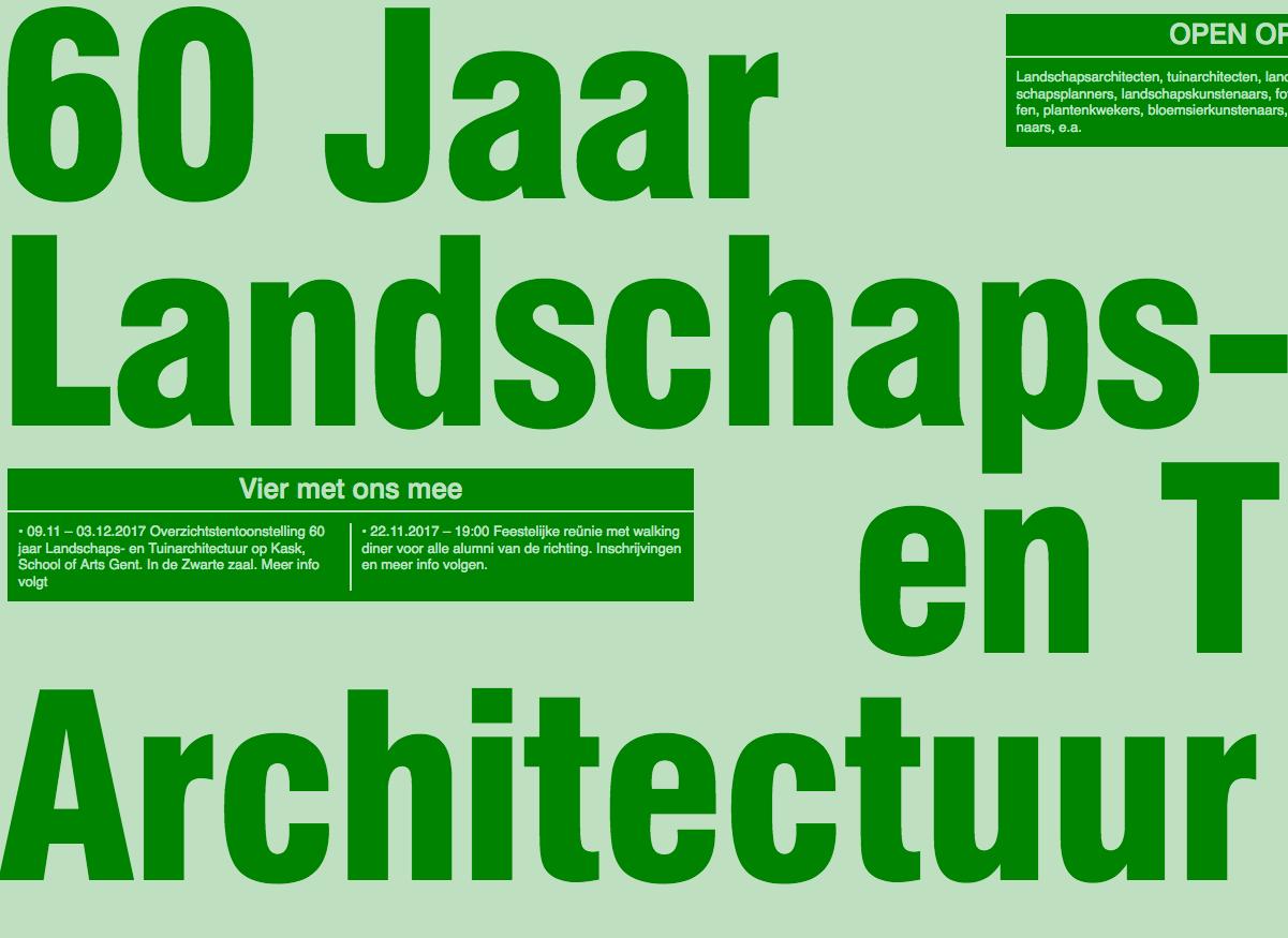 De opleiding landschaps- en tuinarchitectuur van Hogeschool Gent zoekt projecten