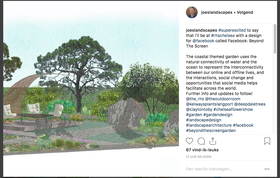 Joe Perkins - Facebook - Chelsea Flower Show 2019